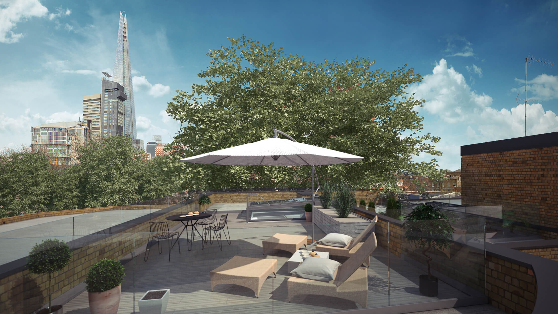Roof terrace at Hepple & White, computer generated image intended for illustrative purposes only, ©Acorn Property Group.
