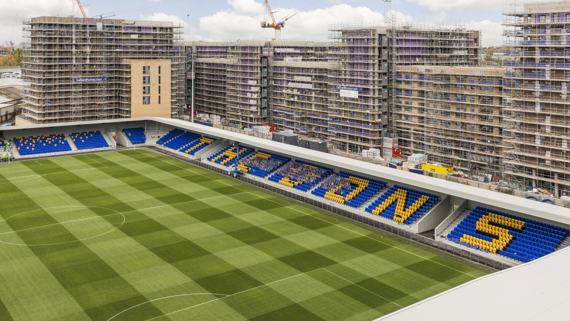 AFC Wimbledon brand new stadium on Plough Lane, new development built by Galliard Homes