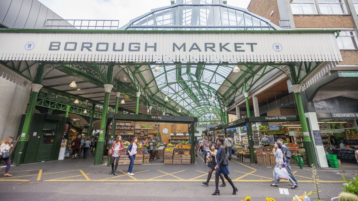 Borough Market, London, Nearby Galliard Homes' development Trilogy