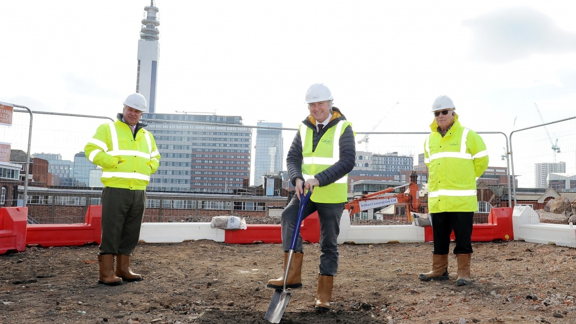 Galliard Apsley Breaks Ground on Third Birmingham Site, Stephen Conway, Robin Norstrom, Cllr Ian Ward