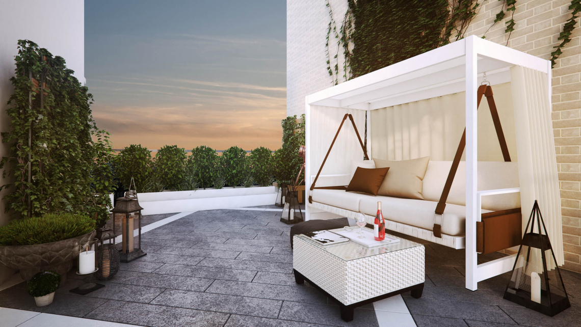 Private roof terrace at Hanway Gardens, computer generated image intended for illustrative purposes only, ©Galliard Homes.