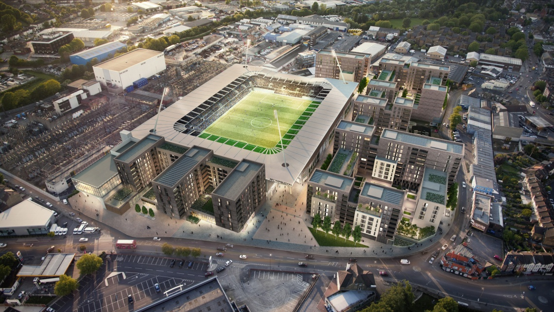 Stadia Three aerial view, computer generated image intended for illustrative purposes only, ©Galliard Homes.