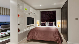 Bedroom area at a Falconwood Court show apartment, ©Galliard Homes.