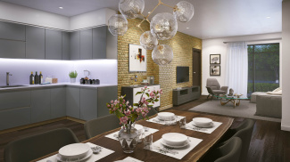 Kitchen and dining area at St Luke's Square, computer generated image intended for illustrative purposes only, ©Galliard Homes.