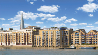 Wapping Riverside rear exterior, computer generated image intended for illustrative purposes only, ©Galliard Homes.