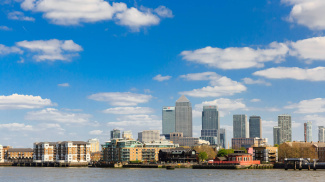 Views of the River Thames and Canary Wharf from the Wapping Riverside apartments, ©Galliard Homes.