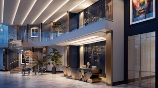 Entrance foyer designed by Nicola Fontanella at The Stage, computer generated image intended for illustrative purposes only, ©Galliard Homes.