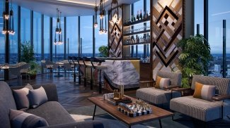 The 32nd level sky lounge and terrace at The Stage, computer generated image intended for illustrative purposes only, ©Galliard Homes.