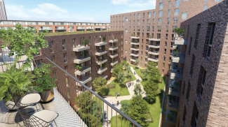 Timber Yard exterior and communal gardens, computer generated image intended for illustrative purposes only, ©Galliard Homes.
