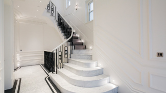 Hallway and staircase at 42 Belsize Park, ©Galliard Homes.