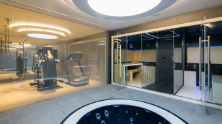 Gym, steam room, sauna and spa wet area at 42 Belsize Park, ©Galliard Homes.