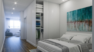 Bedroom area in a Galliard Homes studio apartment, ©Galliard Homes.