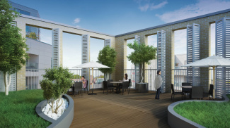 Landscaped roof garden at The Fusion, computer generated image intended for illustrative purposes only, ©Galliard Homes.