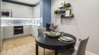 Kitchen and dining area at Westgate House, ©Galliard Homes.