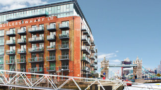 Tea Trade Wharf exterior and view of Tower Bridge, ©Galliard Homes.