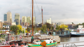Dockside near Tea Trade Wharf and view of Canary Wharf, ©Galliard Homes.