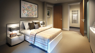Bedroom at Capital Towers, computer generated image intended for illustrative purposes only, ©Galliard Homes.