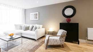 Living area in a Galliard Homes' show apartment, ©Galliard Homes.