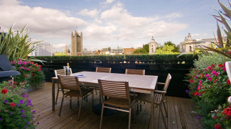 Terrace with Westminster views at Romney House, ©Galliard Homes.