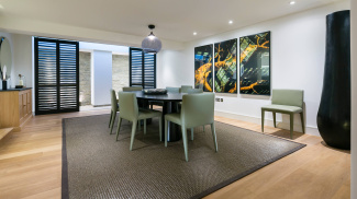 Dining area in St Mary at Hill show apartment, ©Galliard Homes.