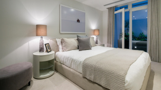 Bedroom in St Mary at Hill show apartment, ©Galliard Homes.