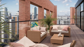 Rooftop terrace at Orchard Wharf, computer generated image intended for illustrative purposes only, ©Galliard Homes.