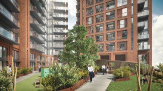 Orchard Wharf exterior and courtyard gardens, computer generated image intended for illustrative purposes only, ©Galliard Homes.