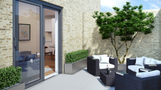 Private terrace at a Parkside apartment, computer generated image intended for illustrative purposes only, ©Galliard Homes.