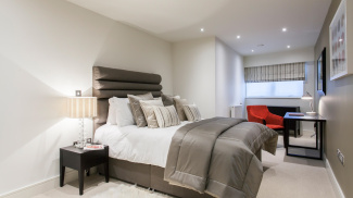 Bedroom at Galliard Homes show apartment, ©Galliard Homes.