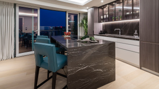 Penthouse kitchen area with access to the private terrace, ©Galliard Homes.