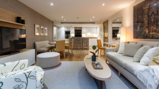 Open-plan living area at Highbeam House, ©Galliard Homes.