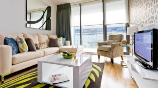 Living room in a Galliard Homes show flat, ©Galliard Homes.