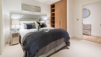 Bedroom at a Marine Wharf East show flat, ©Galliard Homes.