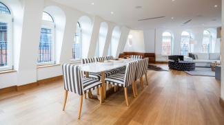 Living and dining room at a Ludgate Broadway penthouse apartment, ©Galliard Homes