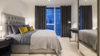 Master bedroom at a Harbour Central apartment, ©Galliard Homes.