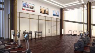 Residents' gym at Harbour Central, computer generated image intended for illustrative purposes only, ©Galliard Homes.