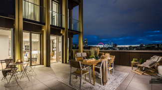 Private terrace at the Trilogy penthouse showflat, plot 32, ©Acorn Property Group.