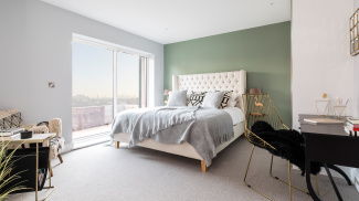 Bedroom in a Church Road show apartment, ©Galliard Homes.