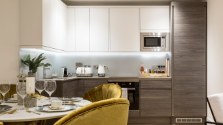 Kitchen area in a Church Road show apartment, ©Galliard Homes.