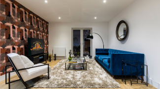 Living area in a Church Road show apartment, ©Galliard Homes.