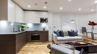 Kitchen and living area in a Galliard Homes show apartment, ©Galliard Homes.