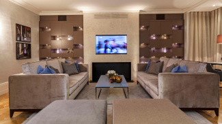 Living room at the Harley House show apartment, computer generated image intended for illustrative purposes only, ©Galliard Homes.