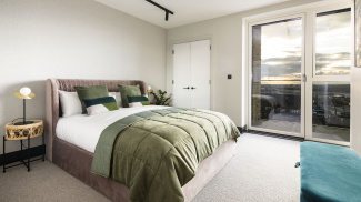 Bedroom at a Cityloft apartment, ©Galliard Homes.