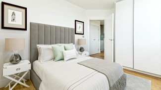 Bedroom at a Galliard Homes apartment, image intended for illustrative purposes only, ©Galliard Homes.