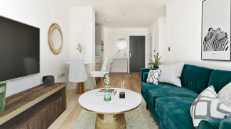 Living area at a Galliard Homes apartment, image intended for illustrative purposes only, ©Galliard Homes.