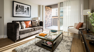 Living area at a Wimbledon Grounds apartment, ©Galliard Homes
