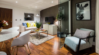 Open-plan living and dining area at the Lincoln Plaza show apartment, ©Galliard Homes.