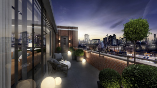 View from a Penthouse apartment balcony at Islington Square, computer generated image intended for illustrative purposes only, ©Galliard Homes.