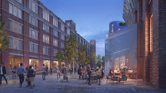 Public realm, home to brand new restaurants and fashion stores, at Islington Square, computer generated image intended for illustrative purposes only, ©Galliard Homes.