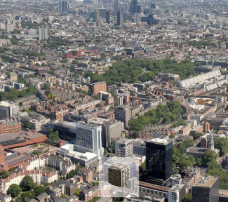 Aerial view of Unison and London, ©Galliard Homes.